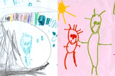 4 year-old Laura's drawings off diet and then on diet